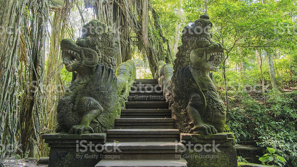 Dragon Bridge at Monkey Forest Sanctuary in Ubud, Bali,Indonesia. stock photo