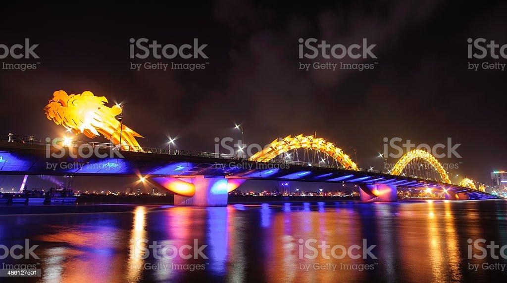Dragon bridge by night in Danang cityVietnam stock photo