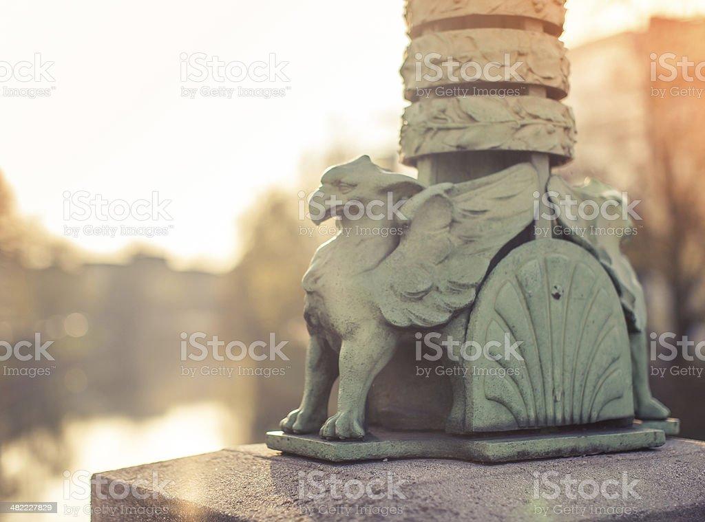 Dragon bridge detail, Ljubljana, Slovenia stock photo