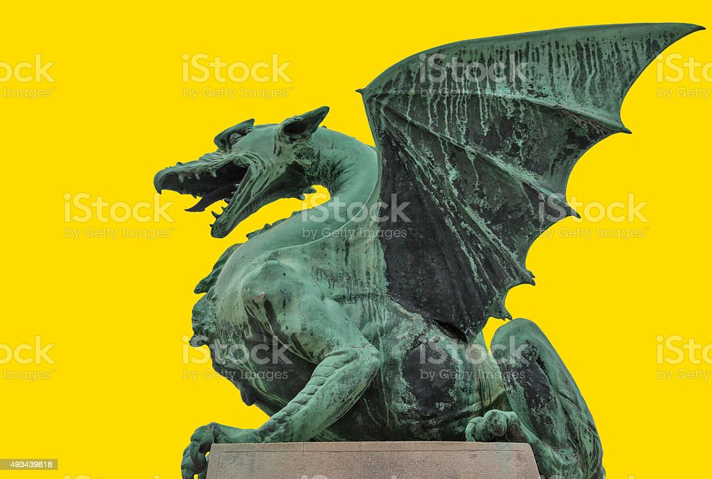 Dragon bridge in Ljubljana isolated on yellow background stock photo