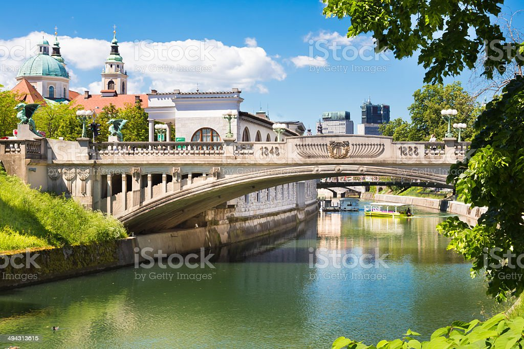 Dragon bridge in Ljubljana, Slovenia, Europe. stock photo