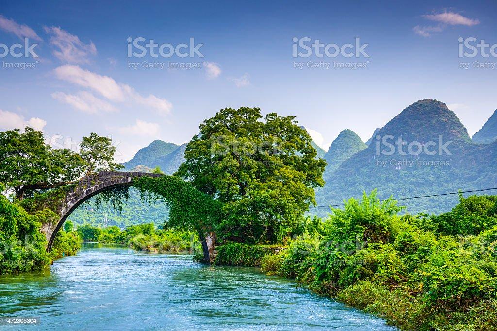 Dragon Bridge of Yangshuo, China stock photo