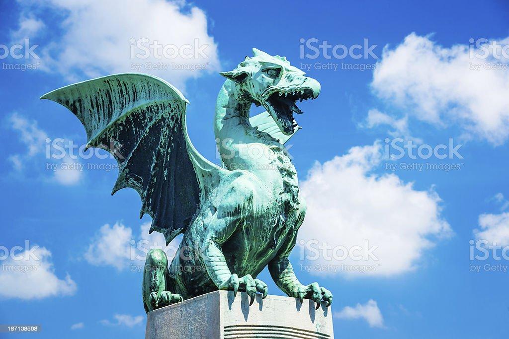 Dragon Bridge statue (Zmajski Most) Ljubljana, Slovenia stock photo