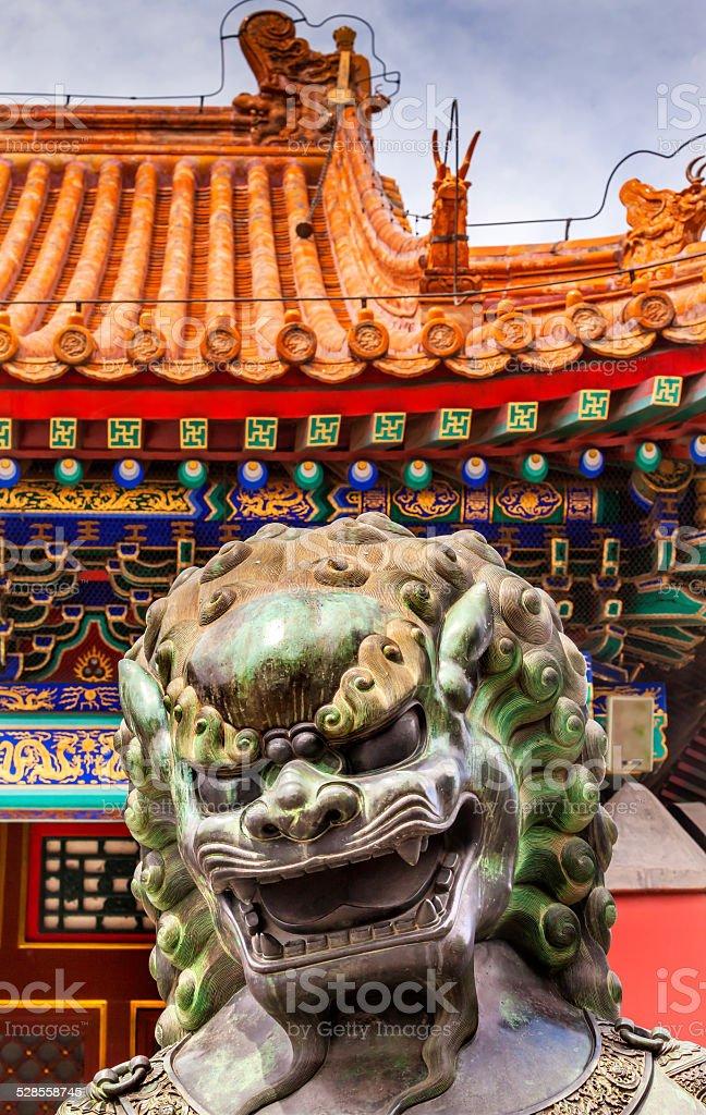 Dragon Bronze Statue Roof Summer Palace Beijing, China stock photo