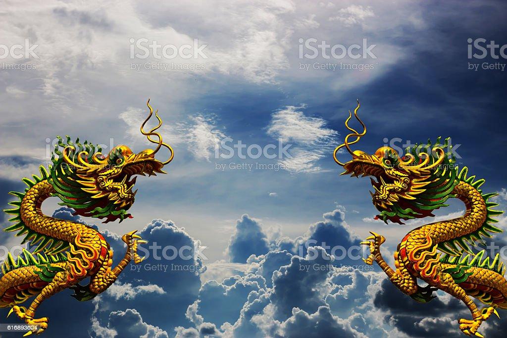 Dragon China - East Asia art white dim cloud. stock photo