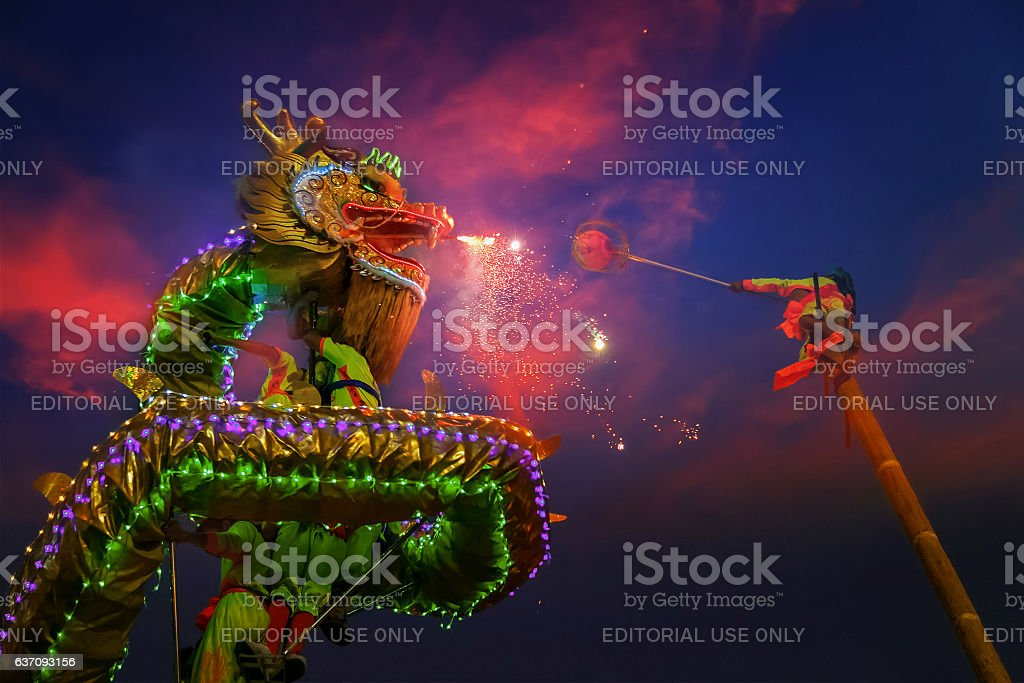 Dragon dance in Chinese new year's celebration stock photo