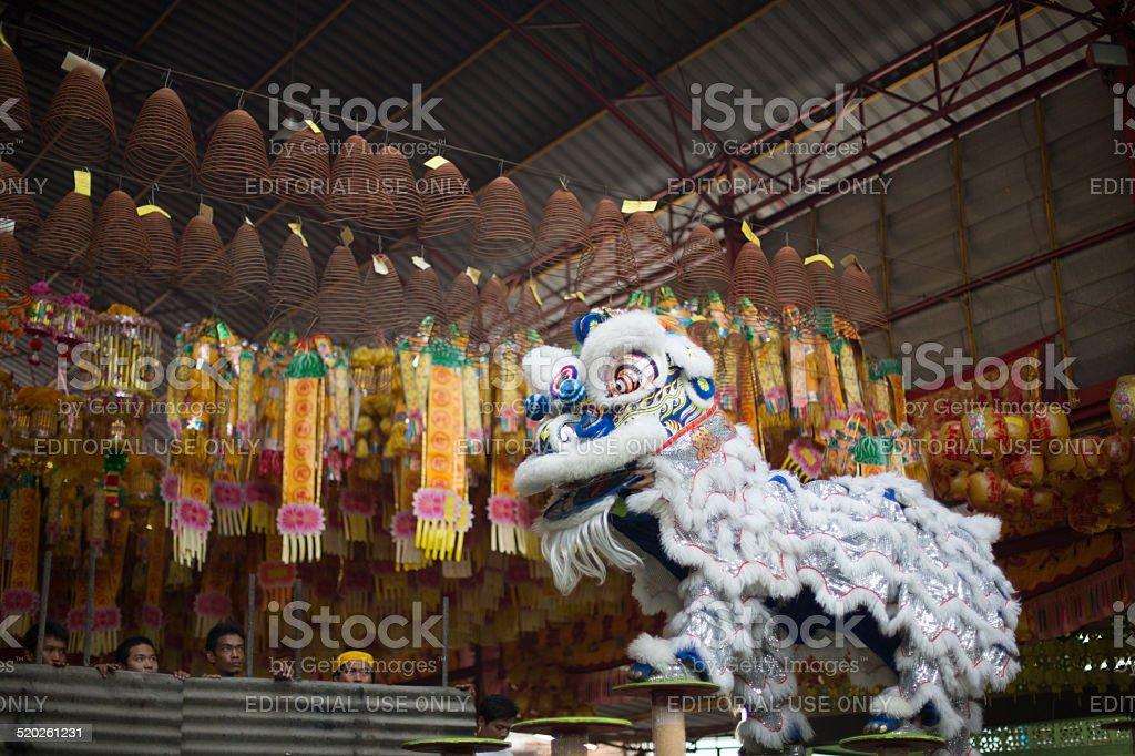 Dragon dance performers, Talad Noi, Bangkok, Thailand. stock photo