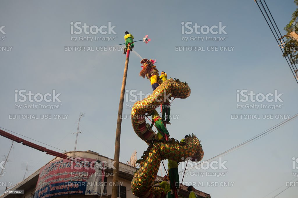 Dragon dance show in parades. royalty-free stock photo
