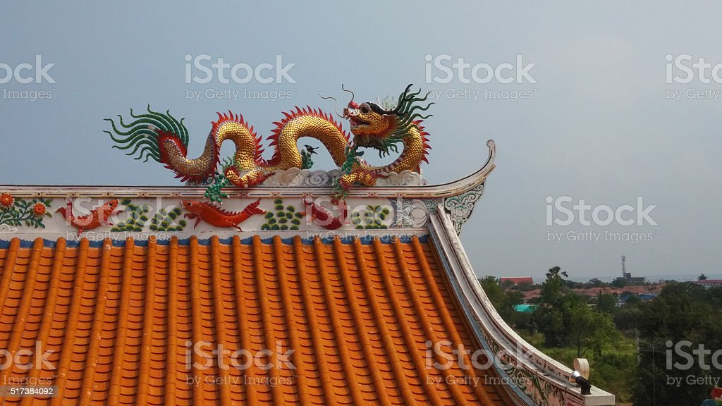 Dragon decorated at the roof of Chinese shrine in Thailand stock photo