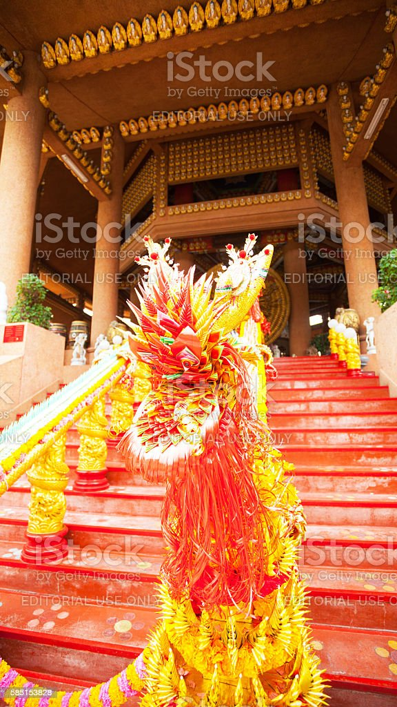Dragon decorated steps and handrail stock photo
