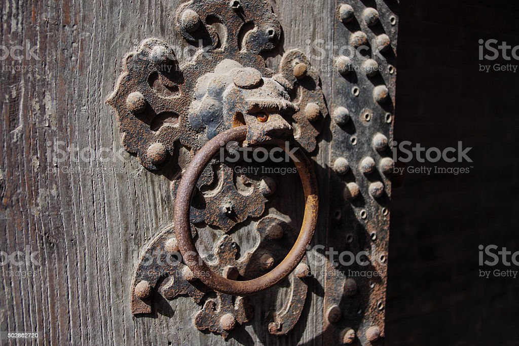 Dragon doorknob stock photo