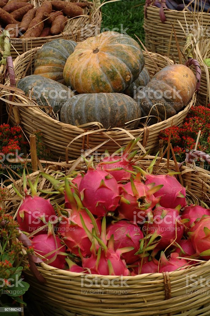 Dragon fruit and pumpkin royalty-free stock photo