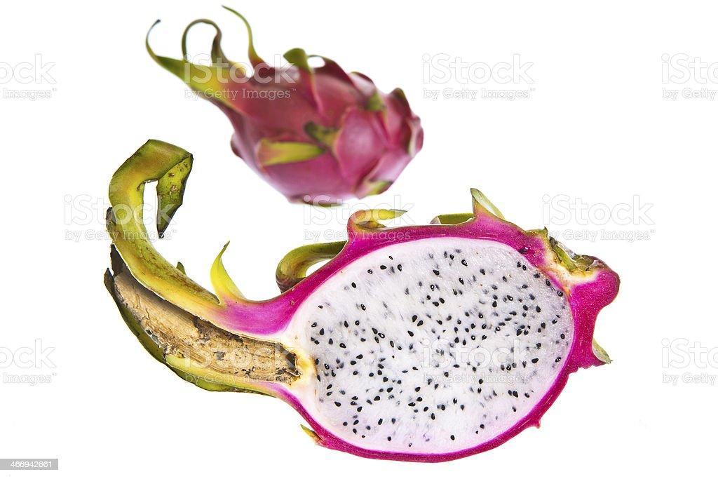 Dragon Fruit or Pitaya Half Open on Seamless White Background royalty-free stock photo