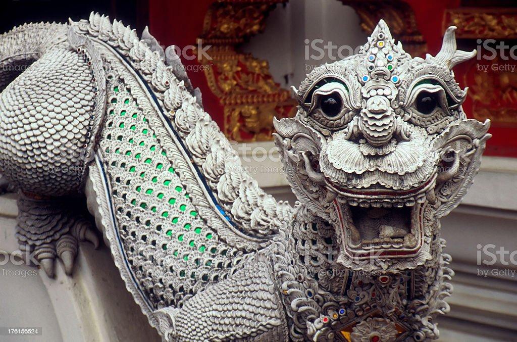 Dragon Guarding Thai Temple stock photo