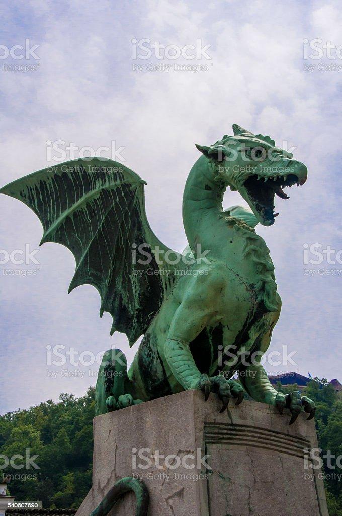 Dragon guarding the city stock photo