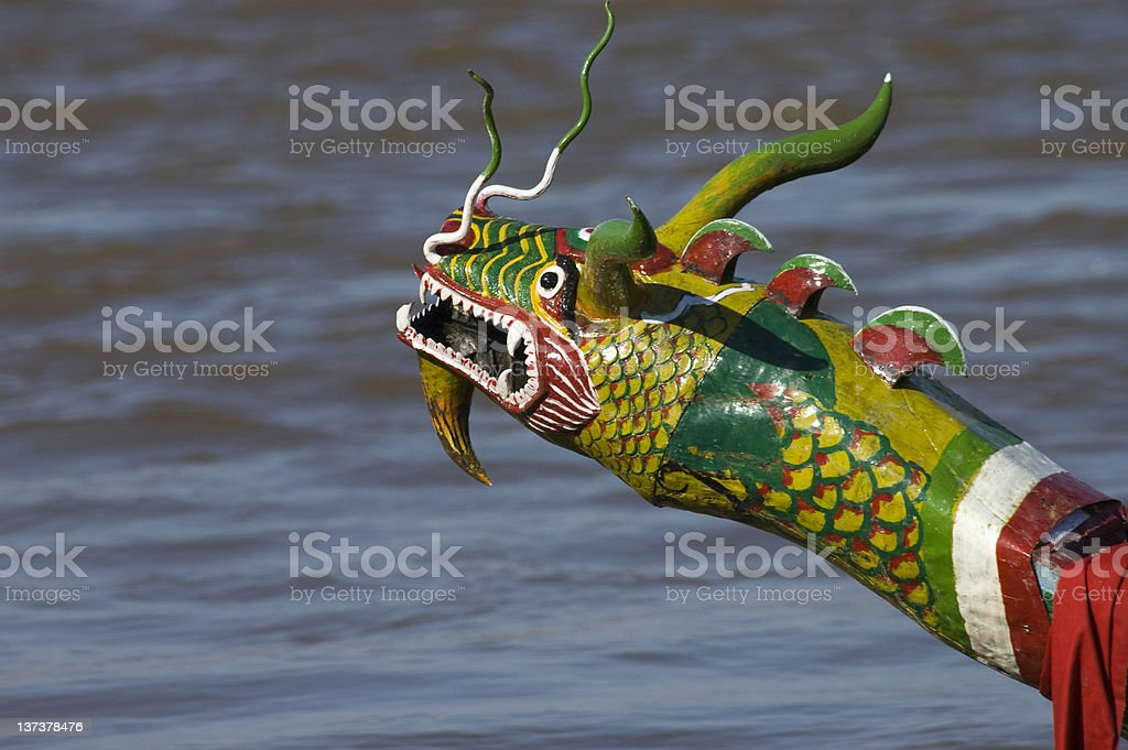 Dragon Head on Cambodian Boat royalty-free stock photo