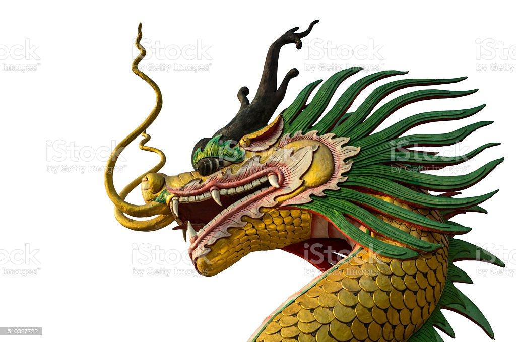 Dragon head statue on white background stock photo