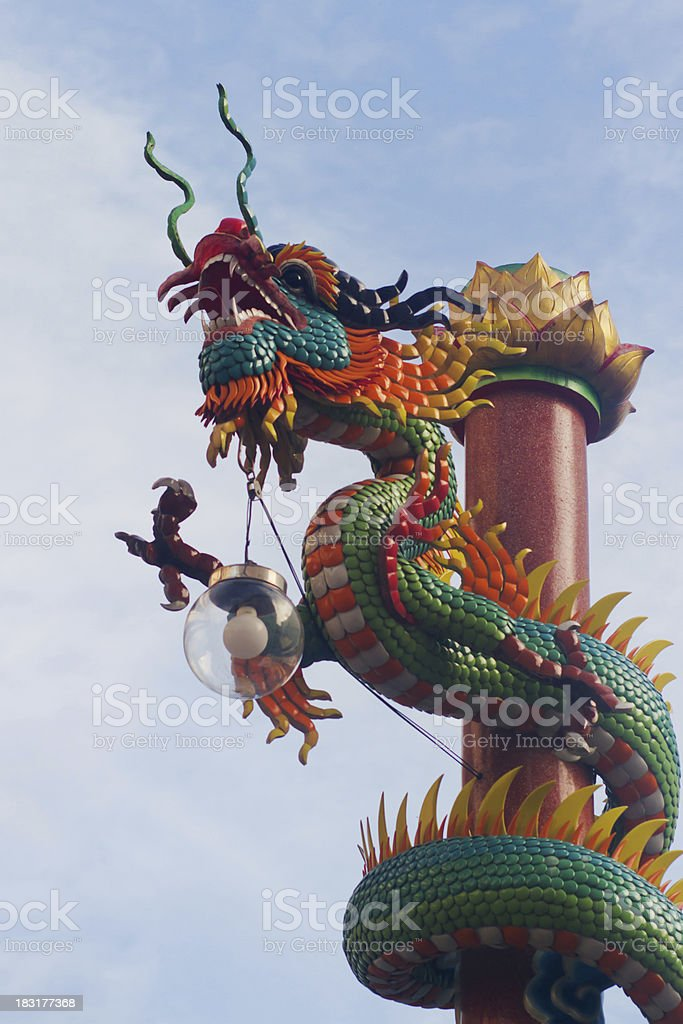 Dragon in Chinese temple royalty-free stock photo