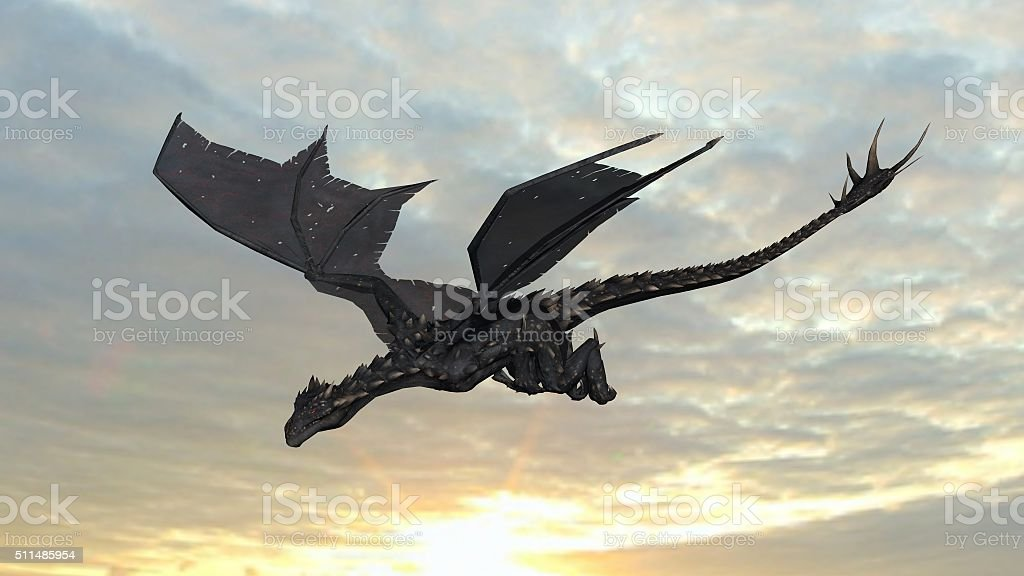 Dragon in flight on sky background stock photo