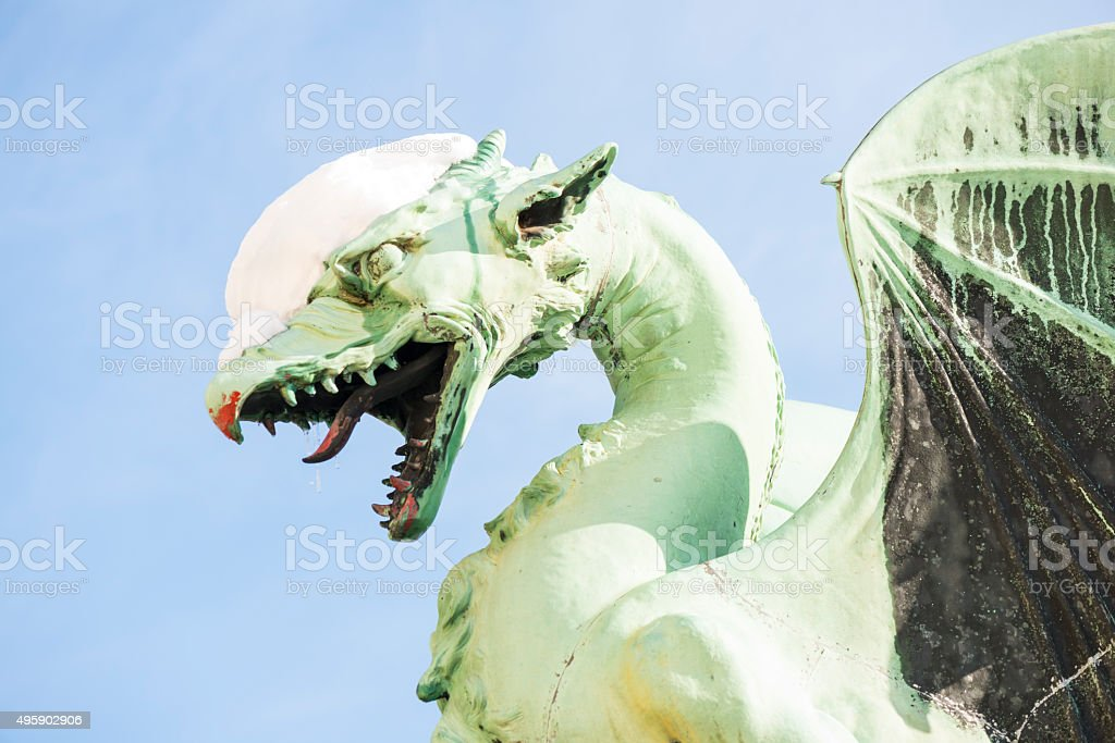 dragon in snow stock photo