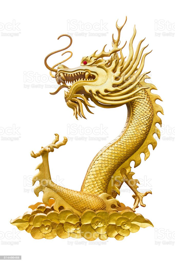 Dragon Isolated on White, With Clipping Path stock photo