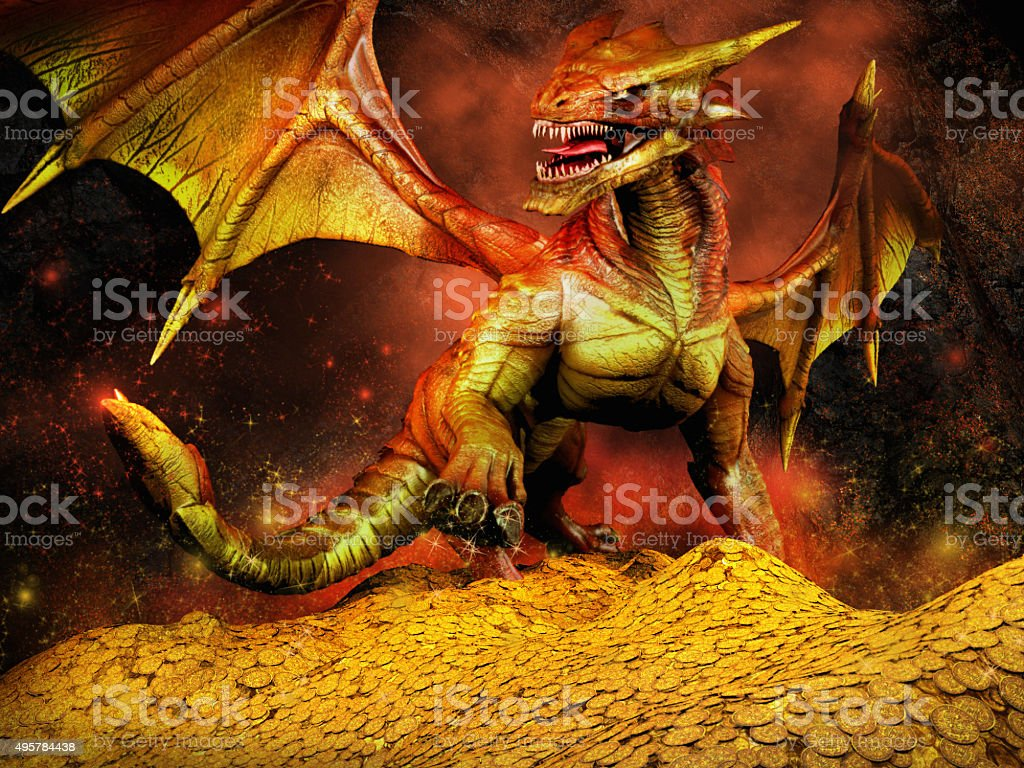 Dragon on a pile of gold stock photo