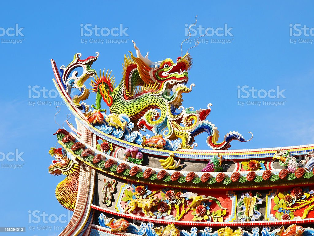 Dragon on rooftop royalty-free stock photo