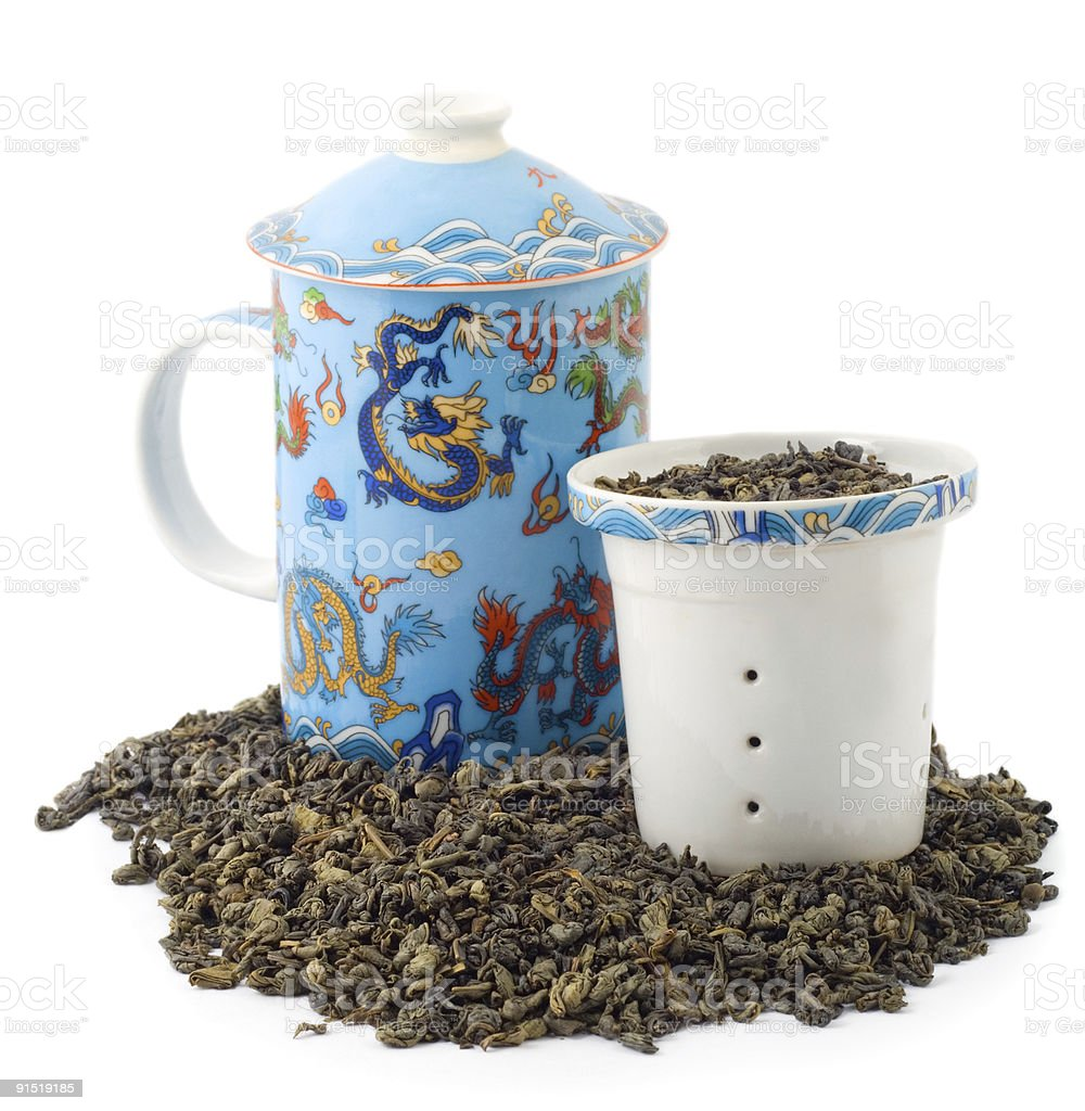 dragon ornament Tea Cup royalty-free stock photo