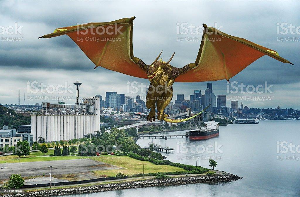 dragon over Seattle stock photo