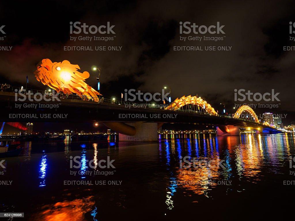 Dragon River Bridge(Rong Bridge) in Da Nang, Vietnam stock photo