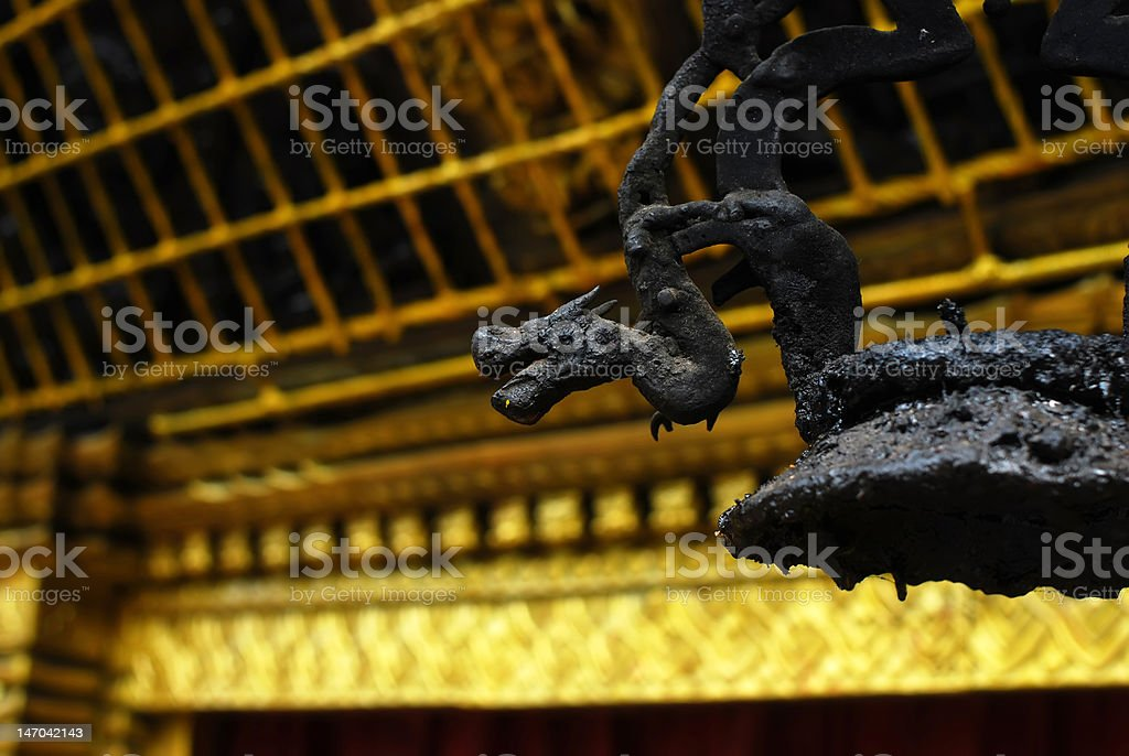 dragon sculpture of golden temple at durbar square,bhaktapur,nepal stock photo