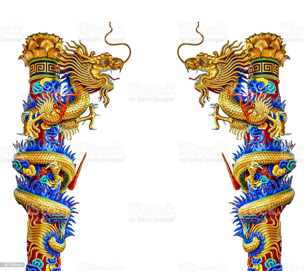 Dragon statue, Chinese style, isolated on white background stock photo