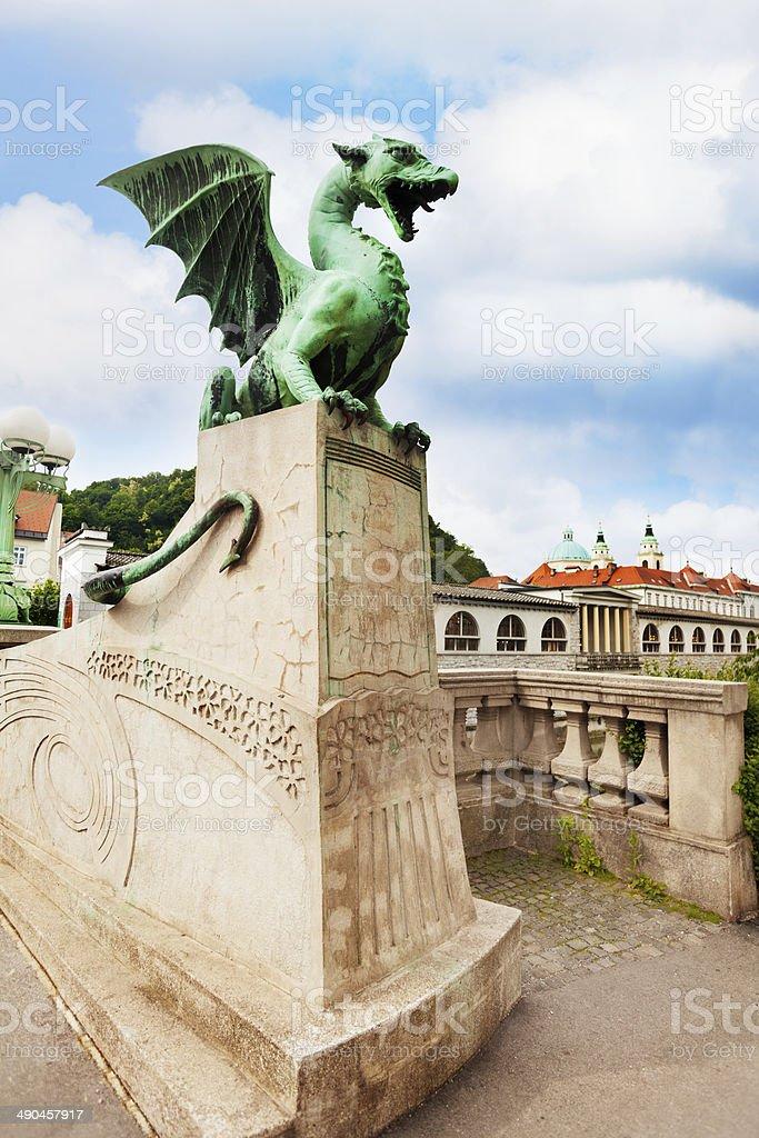 Dragon statue in Ljubljana stock photo
