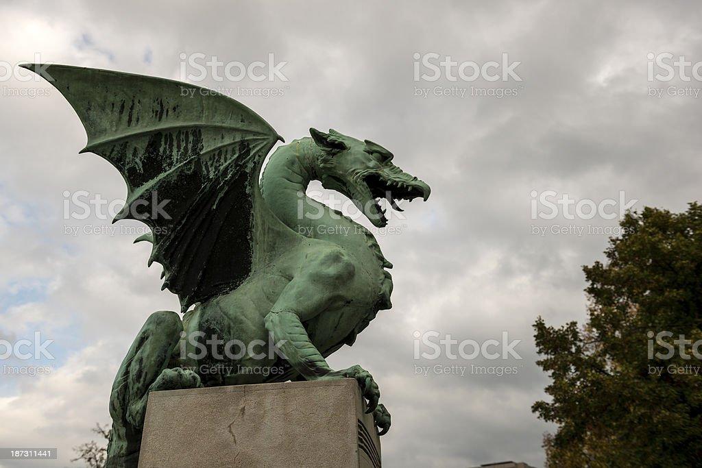 Dragon statue in Ljubljana, Slovenia stock photo