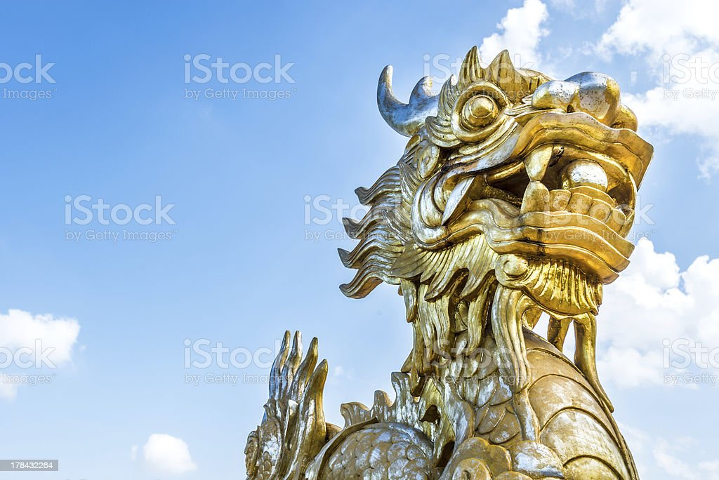 Dragon statue in Vietnam as symbol and myth. stock photo