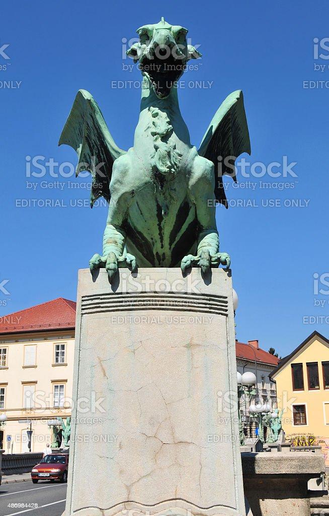 Dragon statue on Dragon's bridge, Ljubljana, Slovenia stock photo