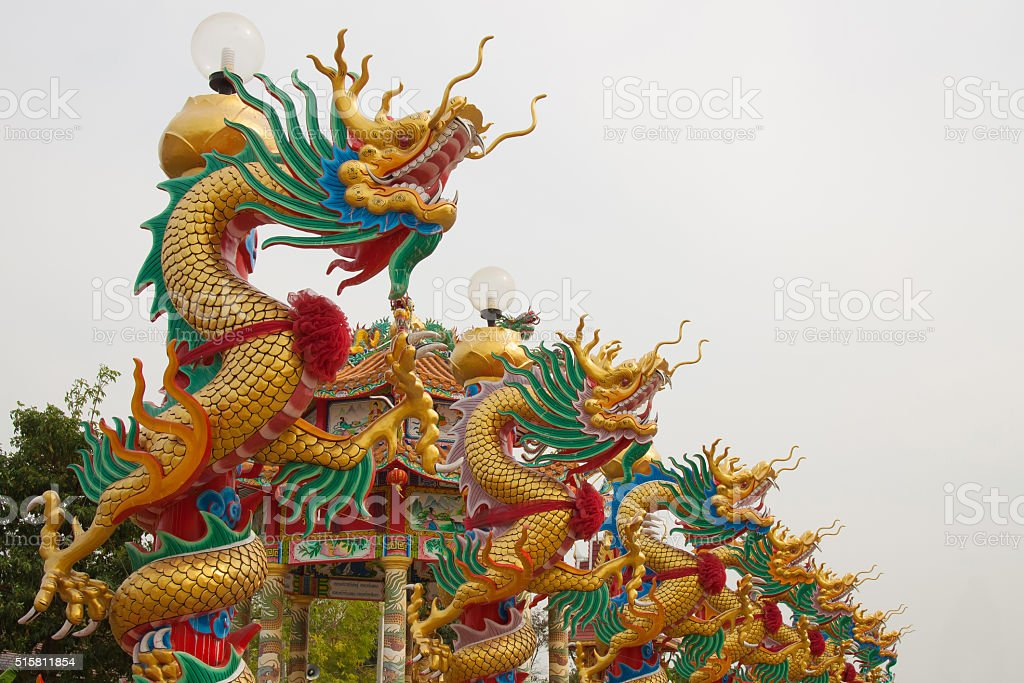 Dragon statue on pillar royalty-free stock photo