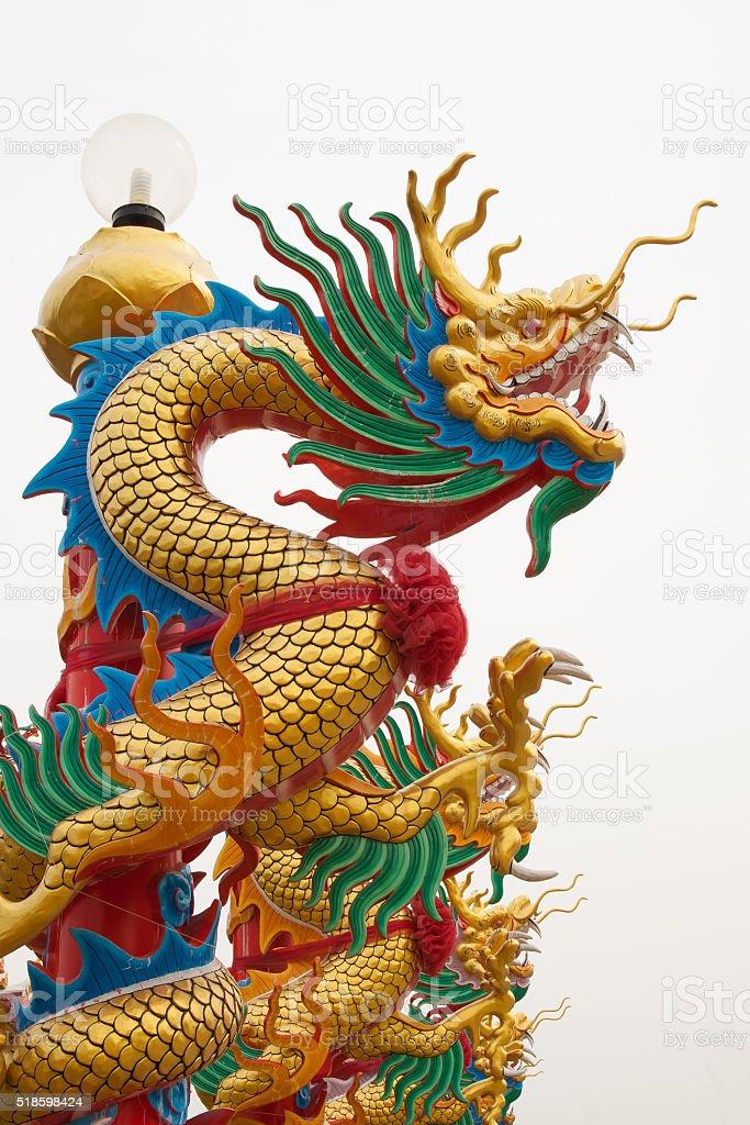 Dragon statue on pillar royalty-free stock photo