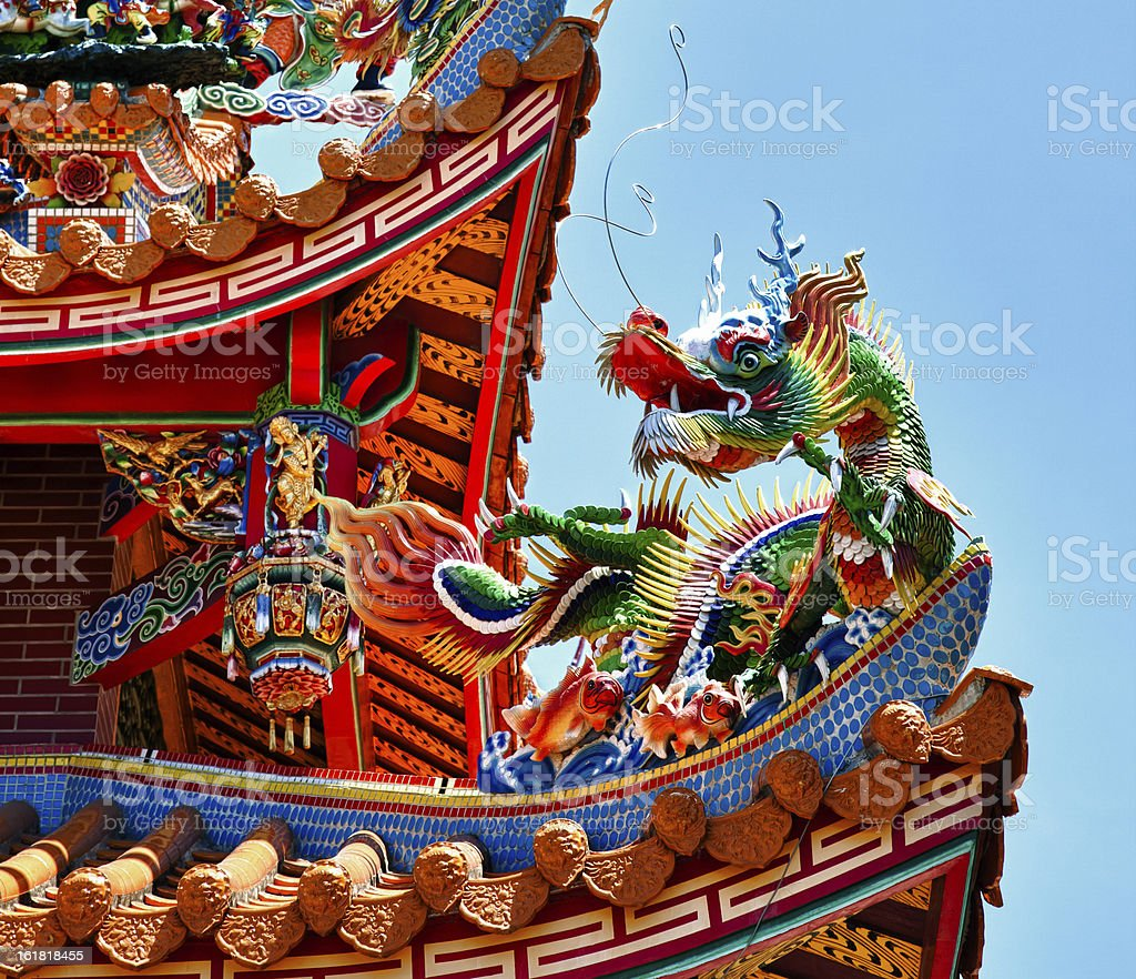 Dragon statue on traditional Taoist temple, Taiwan, Republic of China stock photo
