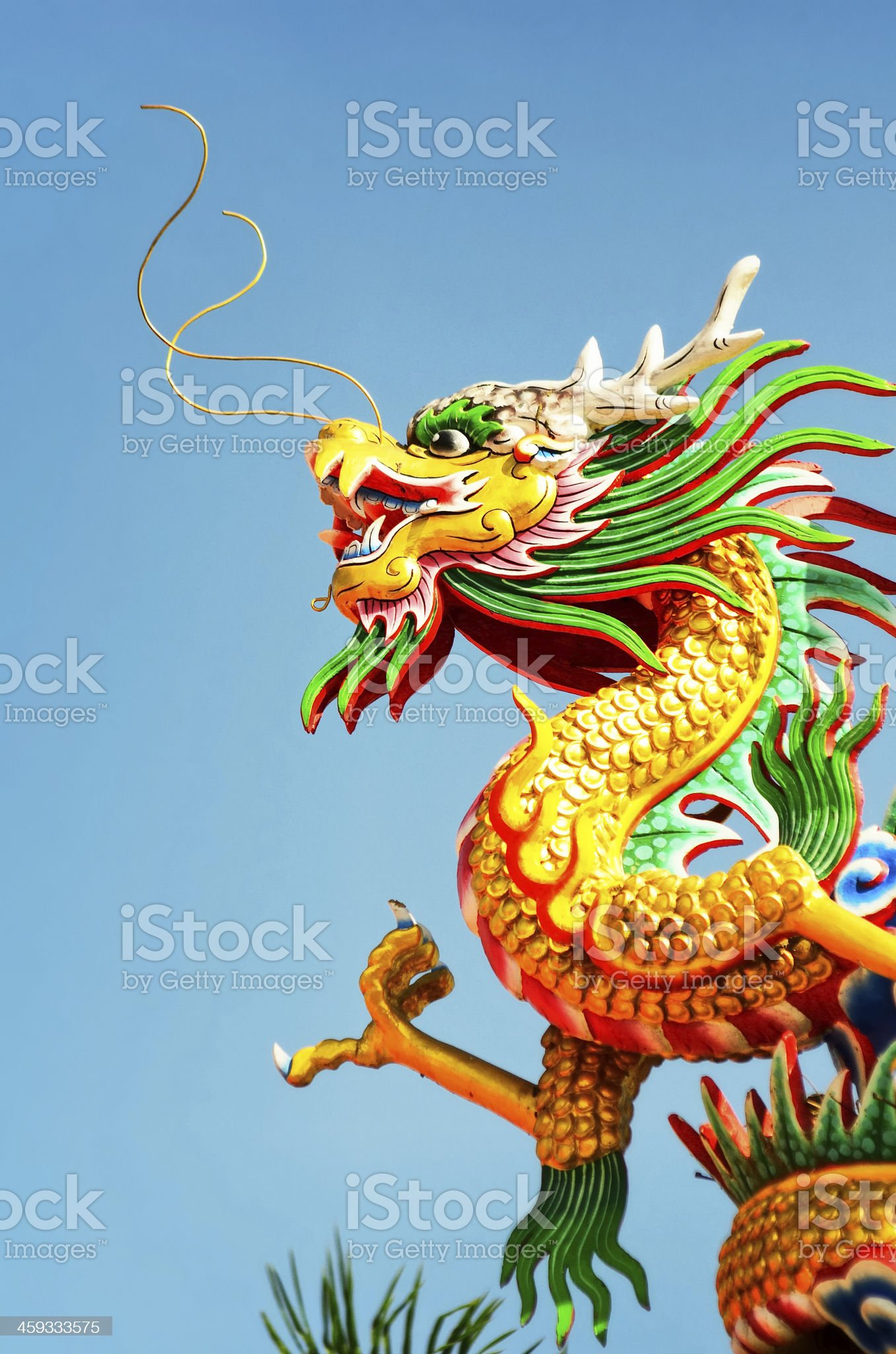 Dragon statue with blue sky royalty-free stock photo