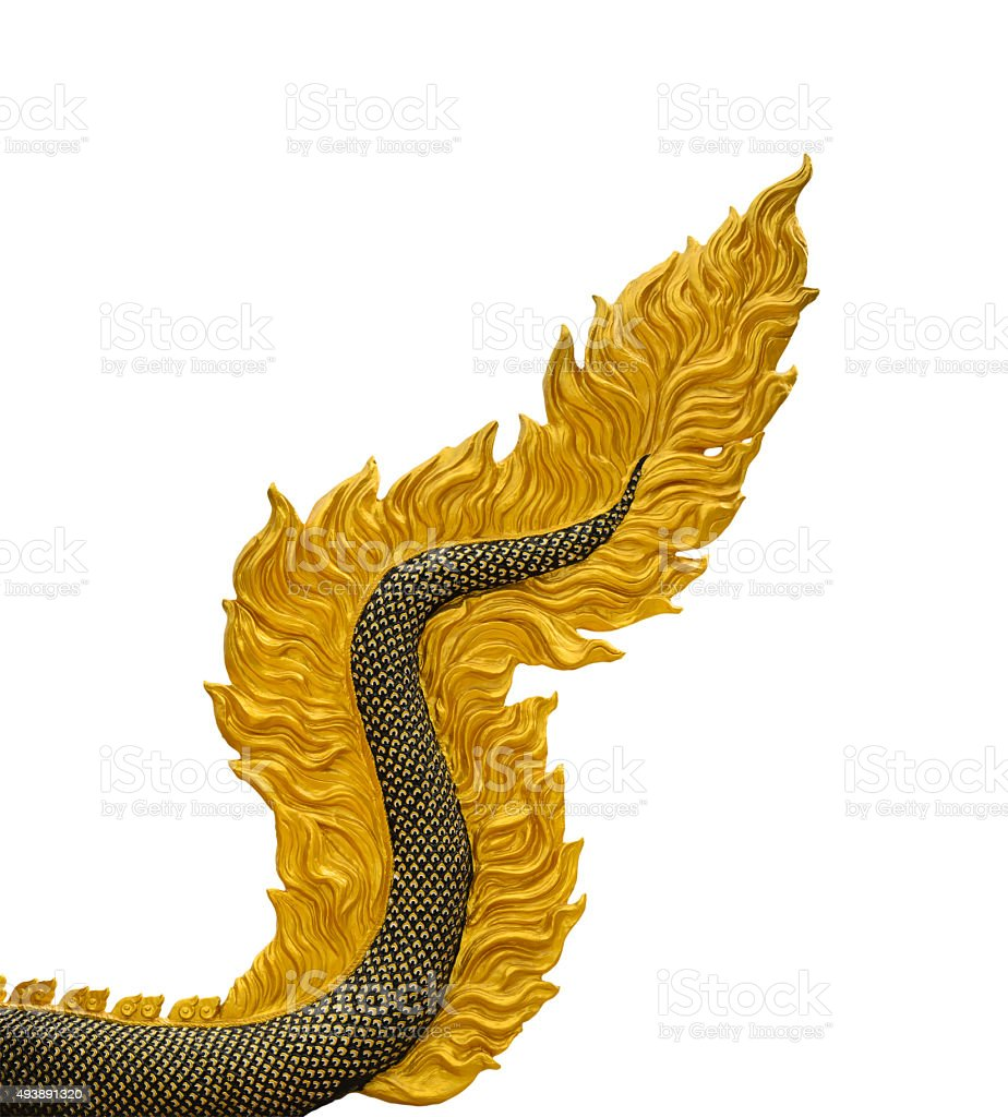 Dragon tail sculpture isolated on white background with stock photo