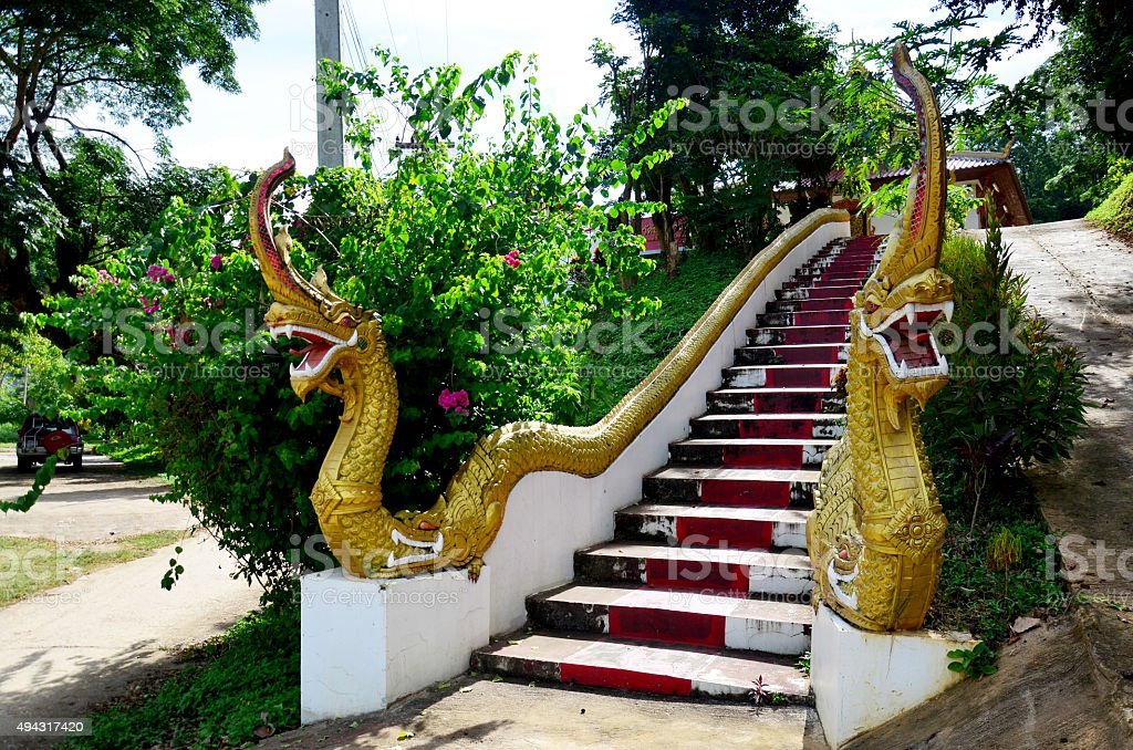 Dragon thai style or Naka at staircase for entrance stock photo