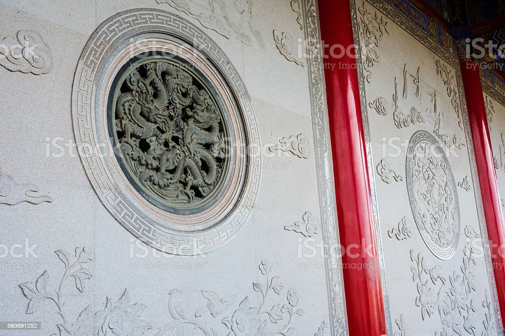 Dragon window on Chinese temple stock photo