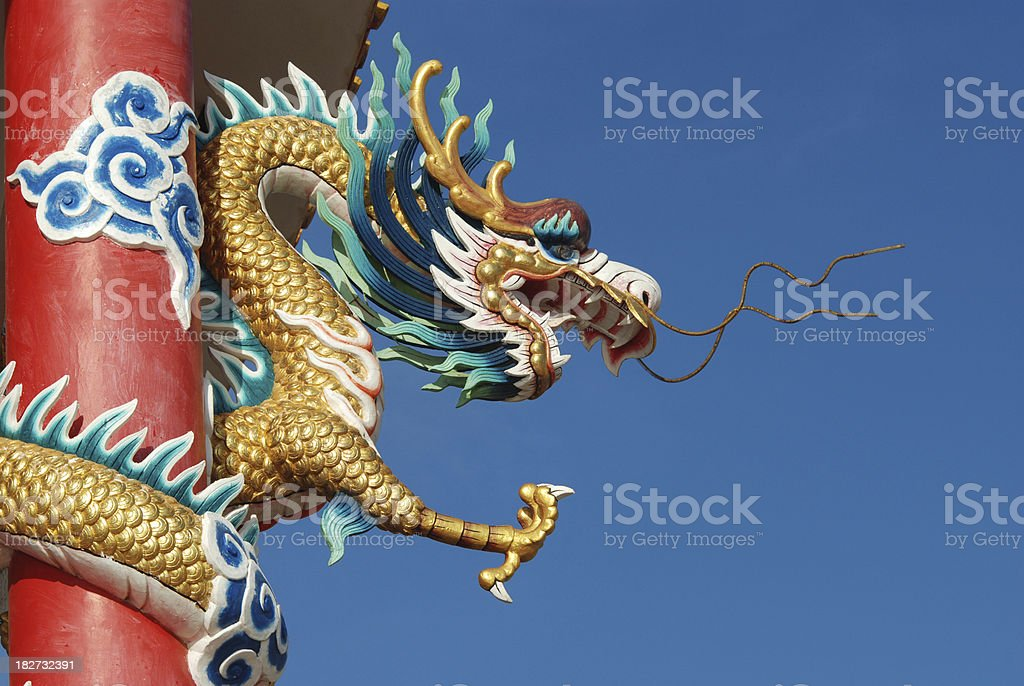 Dragon with a blue sky. royalty-free stock photo