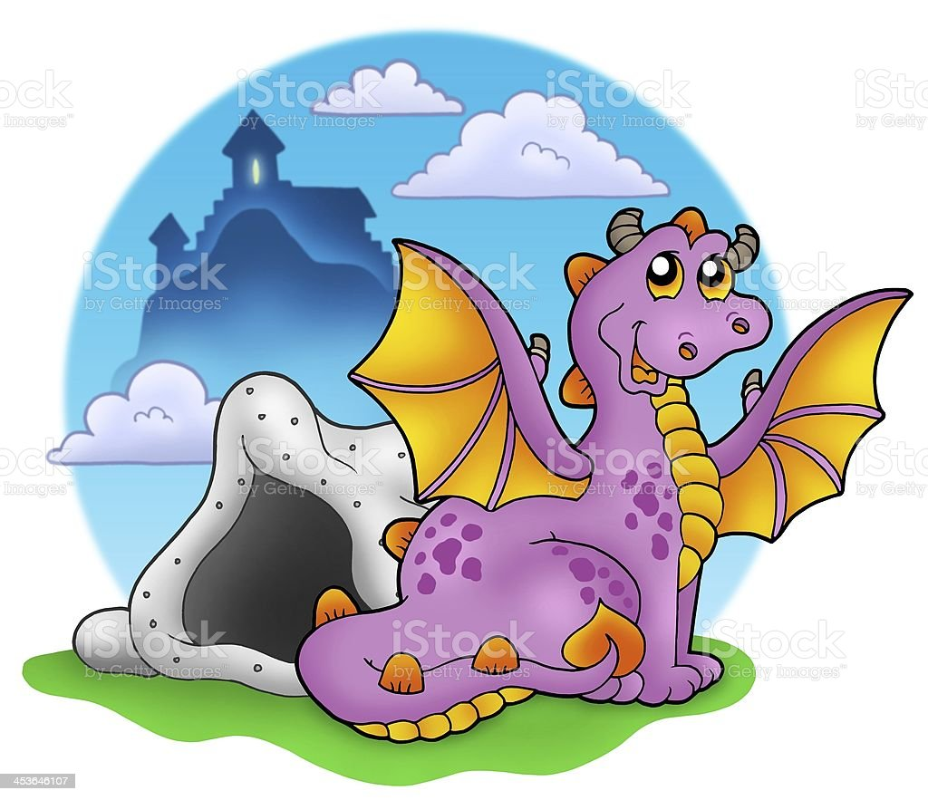 Dragon with cave and castle 2 stock photo