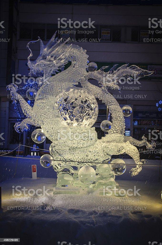 Dragon with cyrstal balls sculpture at 45th Asahikawa Winter Festival stock photo