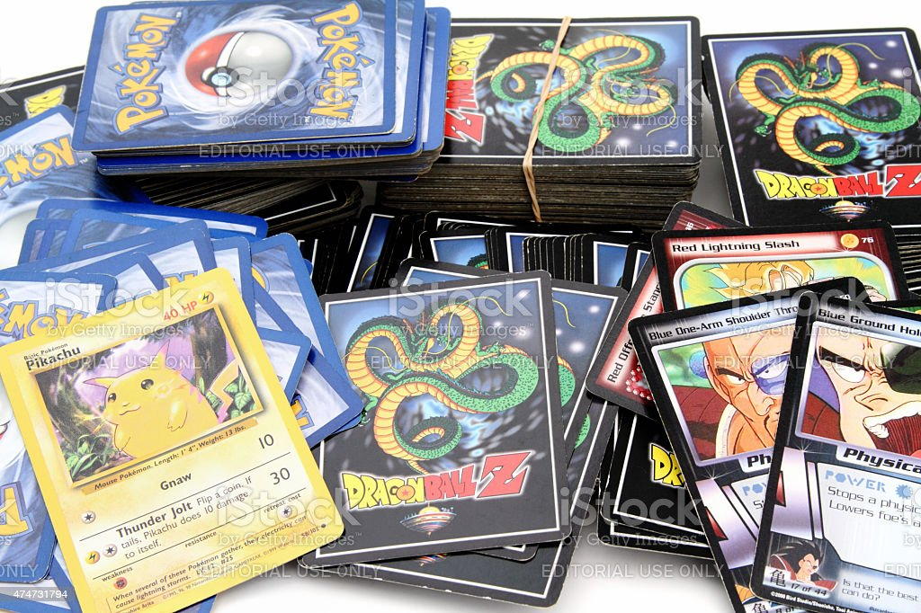 DragonBallZ and Pokemon trading game cards stock photo