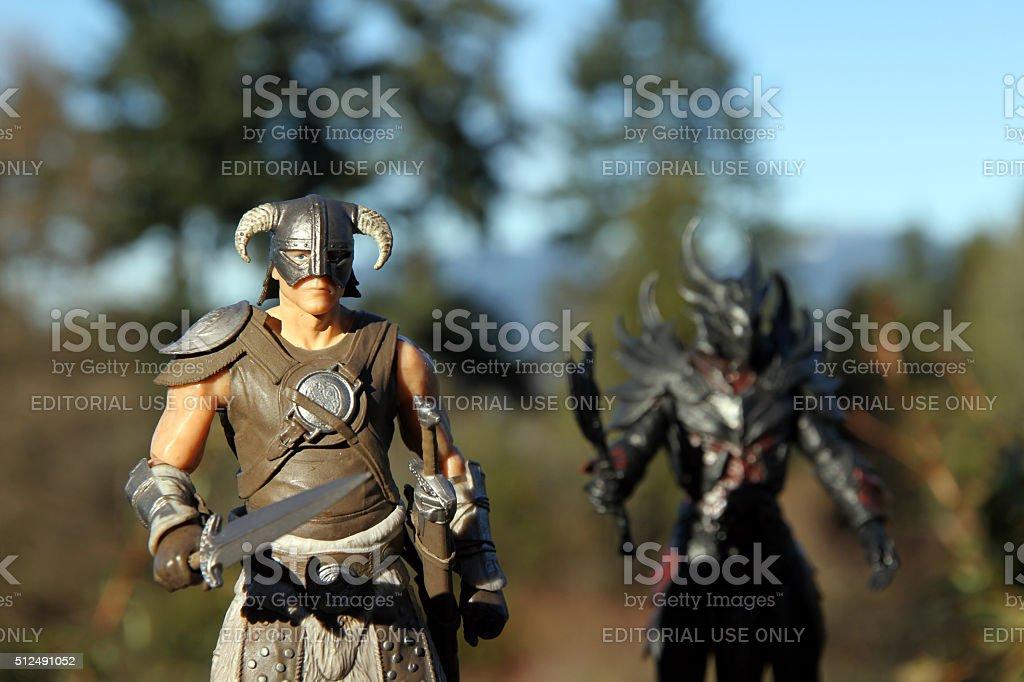 Dragonborn and Daedra stock photo