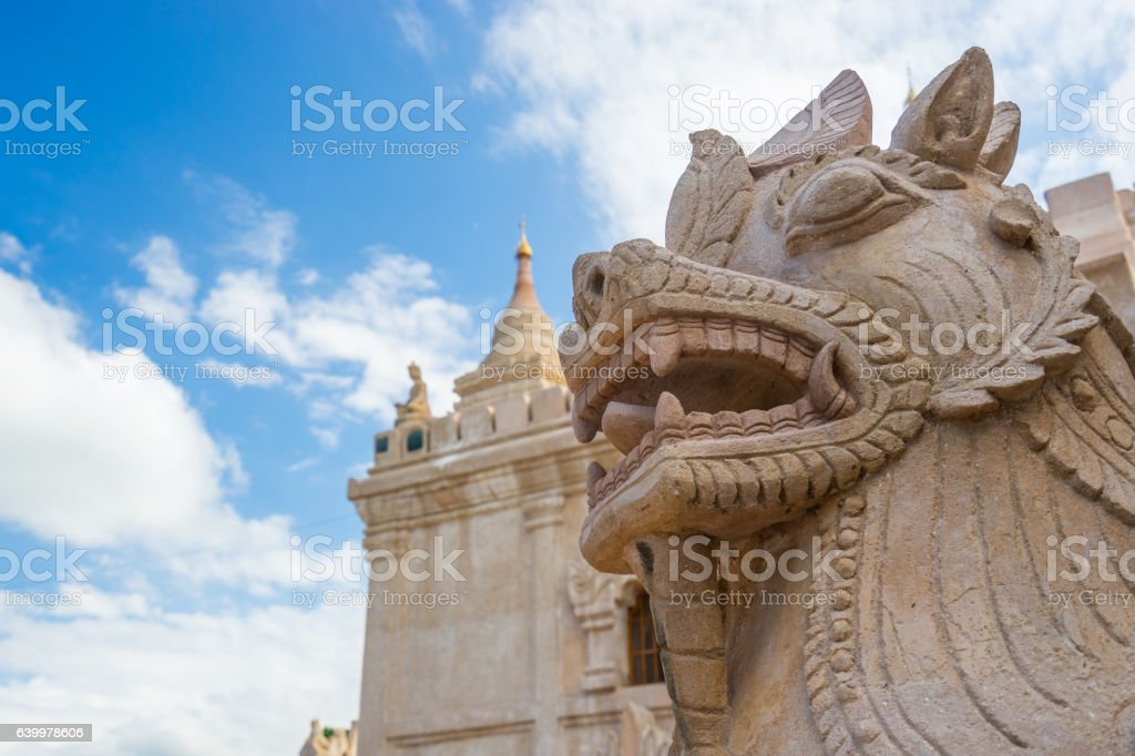 Dragon-headed unicorn statue at Ananda temple, Bagan, Mandalay stock photo