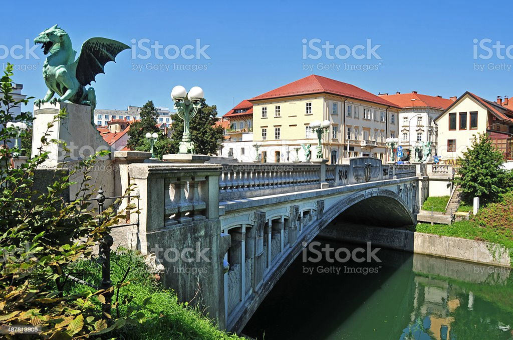 Dragon's bridge, Ljubljana, Slovenia stock photo